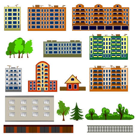 City houses set. Colorful, flat homes or buildings icon collection. Vector illustration