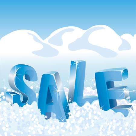 Winter sale blue tags in white snow. Vector illustration.
