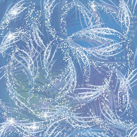 Snowy, gleaming, shining frozen pattern on blue window. Winter theme. Ilustração