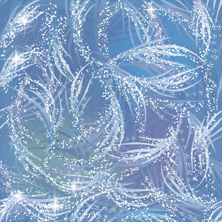 gleaming: Snowy, gleaming, shining frozen pattern on blue window. Winter theme. Illustration