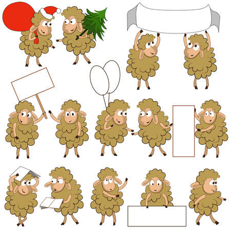 Set of various cartoon sheeps in various poses. They do different things.