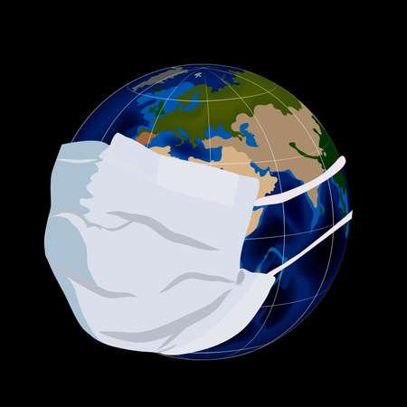 Illustration of globe in medical mask.