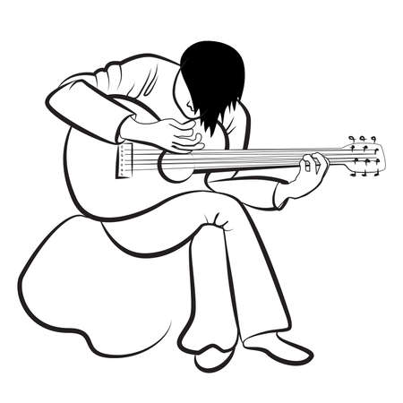 Illustration of a guitarist playing the guitar. Stylized, contours, vector.