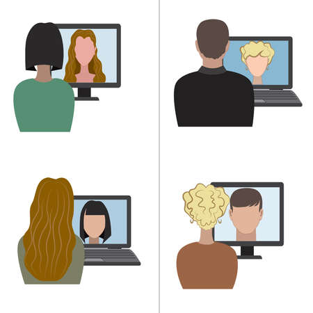 Illustration of two pair having a video chat through the internet Illustration