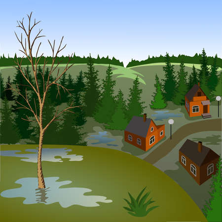 View of landscape of spring town from hill. Day, sky, skyline, forest, houses, tree, valley