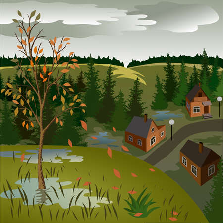 View of landscape of autumn town from hill. Day, sky, skyline, forest, houses, tree, valley
