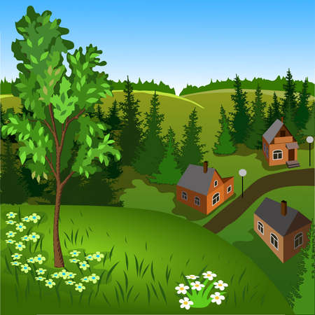 View of landscape of summer town from hill. Day, sky, skyline, forest, houses, tree, valley
