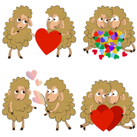 Set of funny couples of sheeps for Valentine