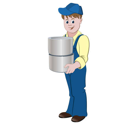 decorator: The painter or decorator standing with the pile of buckets with paint or lacquer