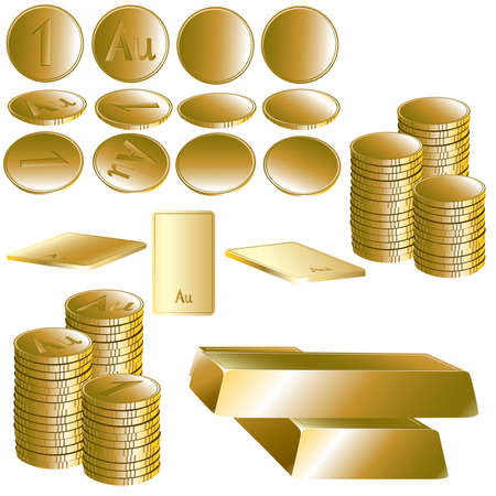 Set of gold coin and ingot. Vector illustration.