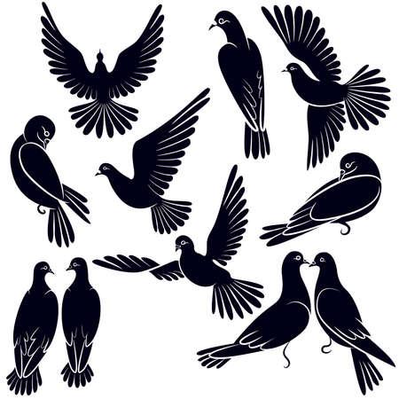 Silhouetten van duiven die vliegen en zitten