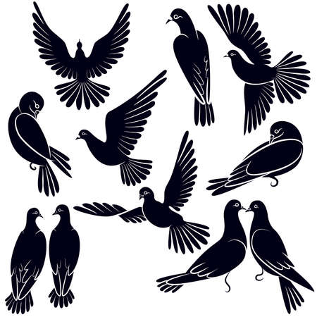 Silhouettes of pigeons that fly and sit Ilustração