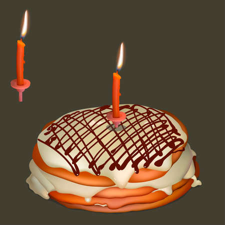 Sweet cake with butter cream and burning candle. Realistic vector illustration.