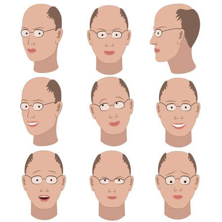 hombre calvo: Conjunto de variaci�n de las emociones del mismo tipo calvo con gafas. �l est� recordando, pensando, triste, so�ando, enojado, sorprendido, indignado, sonriendo. Vectores