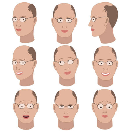Set van de variatie van de emoties van dezelfde kale man met een bril. Hij herinneren, denken, verdrietig, dromen, boos, verbaasd, verontwaardigd, glimlachend.