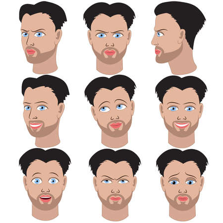 black hair blue eyes: Set of variation of emotions of the same guy with beard. He is remembering, thinking, sad, dreaming, angry, surprised, outraged, smiling.