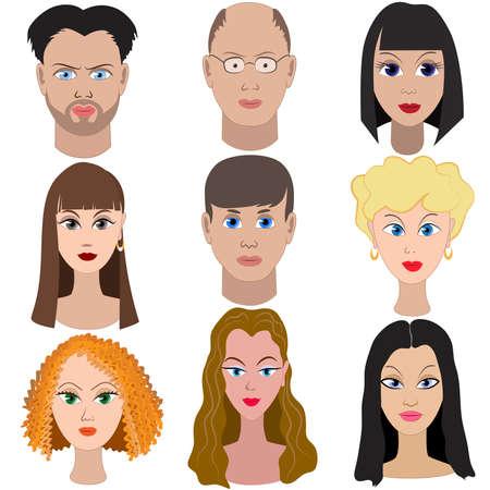 人々 の肖像画のセットです。フルフェイス。  イラスト・ベクター素材
