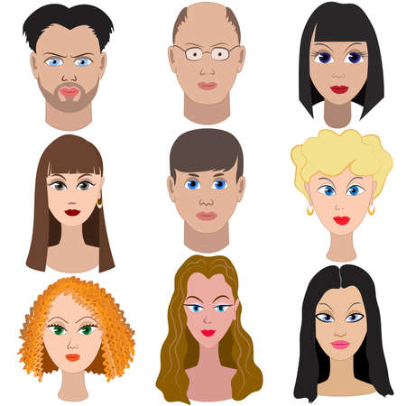 Set of portraits of people. Full face. Stock Vector - 37163865