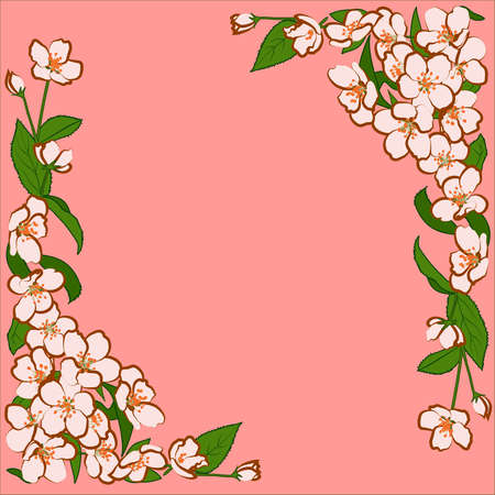 ligature: Ornament of pink apple flowers with green leaves.  Flower frame