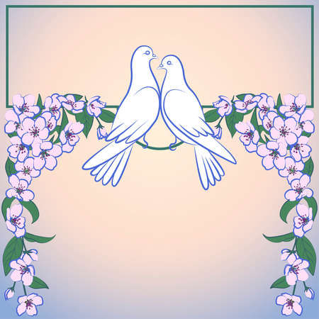Two white doves and decor of blossoming apple tree
