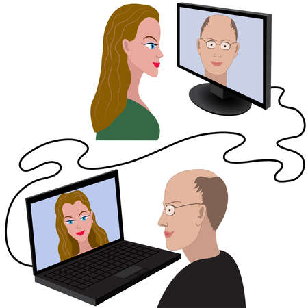 skype: Illustration of man and woman having a video chat through the internet Illustration