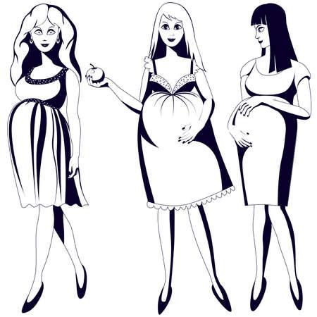 Set of black and white young pregnant women Ilustração
