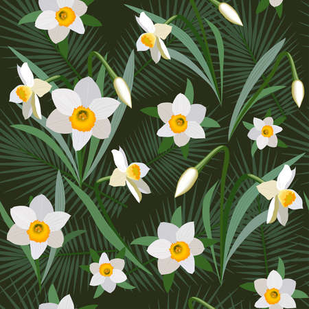 jonquil: Seamless background from bunch of blossoming narcissus flowers