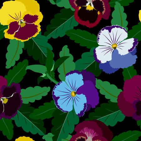 pansy: Seamless background from pansy flowers and leaves Illustration