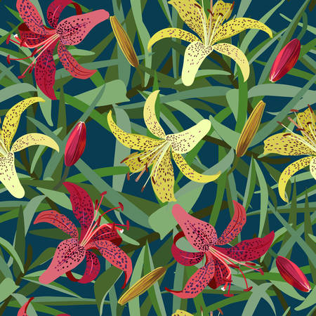 tiger lily: Seamless background from yellow and red tiger lily flower