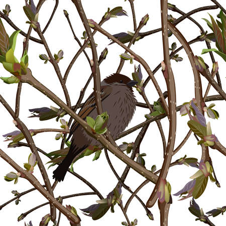 Branches with new green shoots or sprout and bird. Seamless background