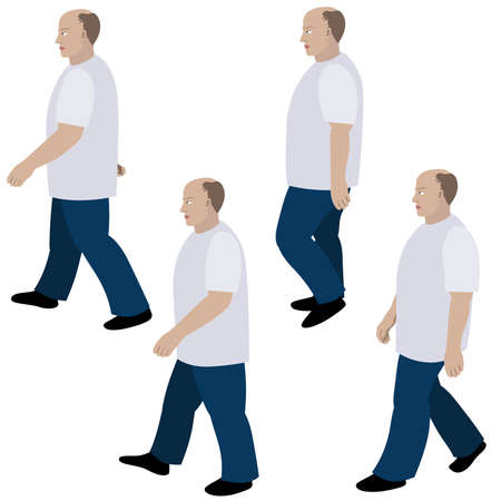 stride: Set of position a person walking in jeans and T-shirt