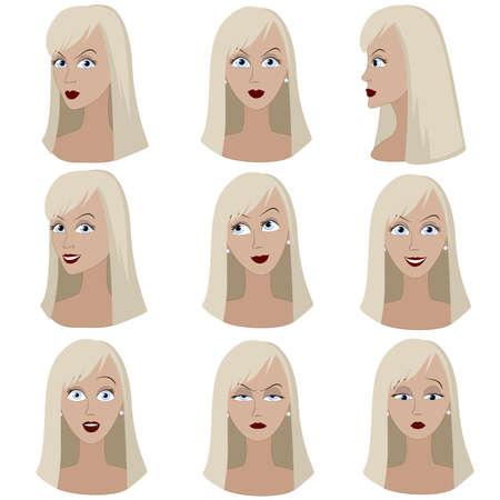 mujer enojada: Conjunto de variación de las emociones de la misma mujer con el pelo rubio. Ella está pensando, malestar, sueño, enojado, sorprendido, indignado, sonriendo. Ella tiene el pelo largo y recto y ojos azules.