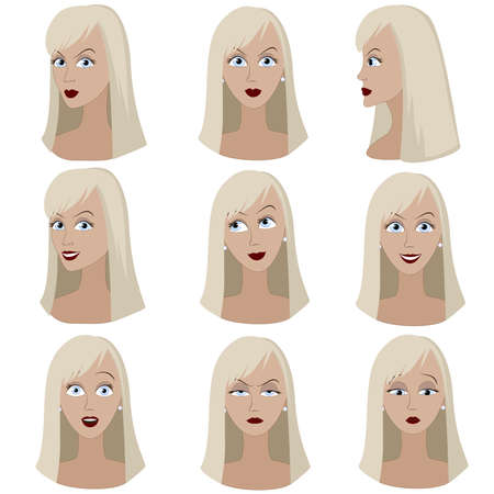 avatar woman: Set of variation of emotions of the same woman with blond hair. She is thinking, upset, dreaming, angry, surprised, outraged, smiling. She have long straight hair and blue eyes.