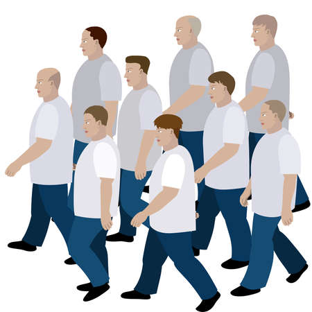 moving in: Crowd of men moving in jeans and T-shirt to the common direction Illustration