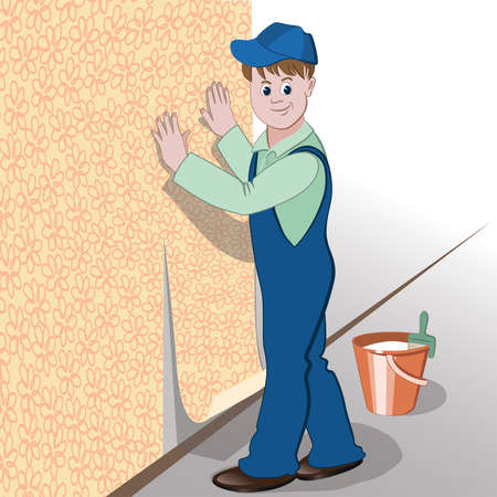 paperhanging: The decorator or handyman glues wallpaper to wall