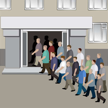 people in line: The crowd of men is entering into the doors of the building Illustration
