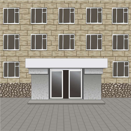 retail place: Front of building, entrance with empty signboard for your name, pavement Illustration