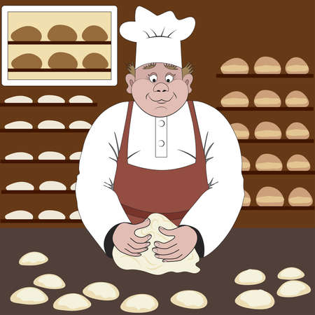 dough: Baker makes the bread in a bakery