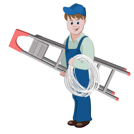 network connections: Illustration of electrician or cable guy standing with a ladder and a cable