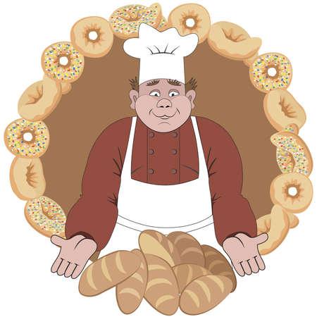 Baker offers the bread or buns Ilustração