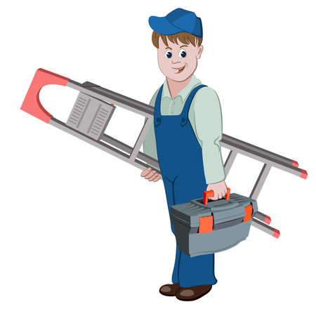 workman: The workman or handyman standing with ladder and a toolbox Illustration