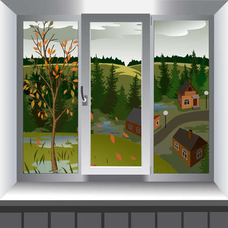 window view: View from window of landscape of town from hill. Autumn Illustration