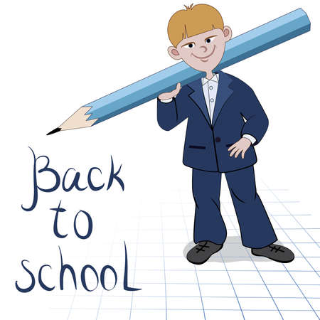 Student boy with great pencil