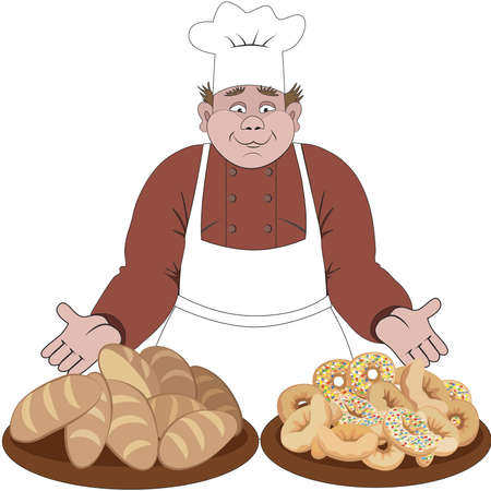 baker cartoon: Baker offers the bread and buns