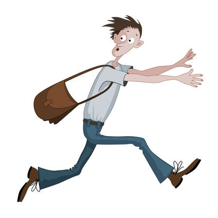 Carton man running fast with bag scared with something, he is looking back Ilustração
