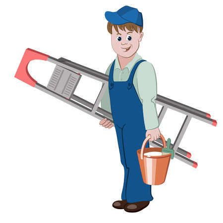 The decorator or handyman standing with ladder and a bucket of glue Ilustração