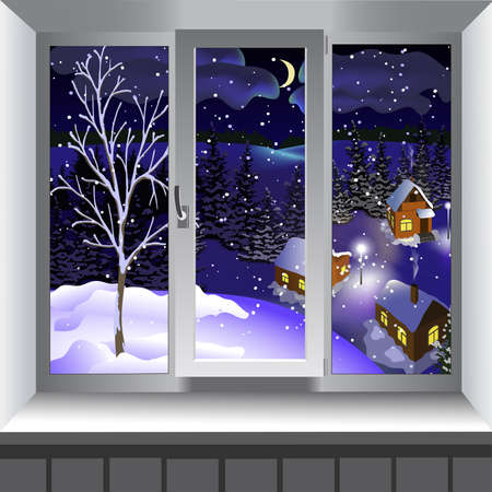 window view: View from window of landscape of town from hill. Winter Illustration