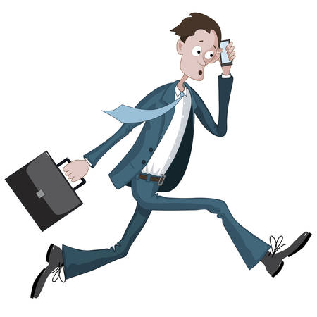 Cartoon businessman running hurriedly with a case and phone in hand Ilustração