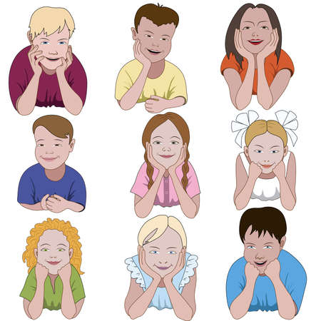 Set of nine young children leaning on they elbows Banco de Imagens - 45073188