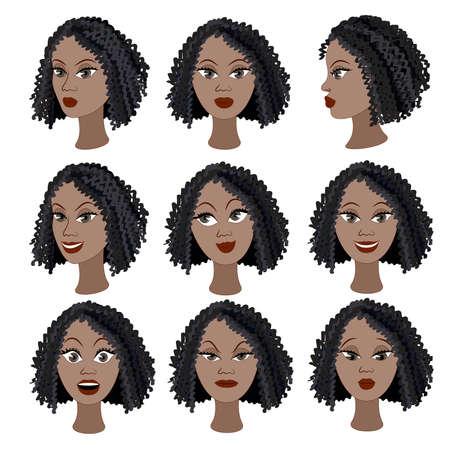 cabello rizado: Conjunto de variación de las emociones de la misma chica negro. Ella es recordar, pensar, triste, soñando, enojado, sorprendido, indignado, sonriendo. Ella tiene el pelo corto y rizado Vectores